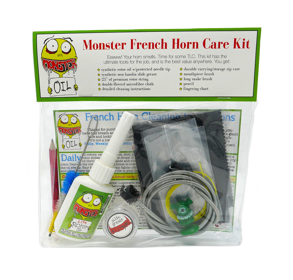 French Horn care and cleaning kit. Everything you need to keep your horn clean, healthy, and shiny with the highest quality, best value accessory kit anywhere in the world. Great gift for horn players!