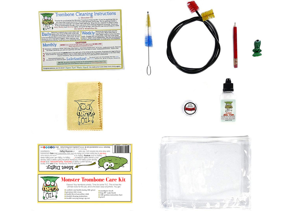 Trombone care and cleaning kit, unpacked with all components visible. Keep your horn clean, healthy, and shiny with the highest quality, best value accessory kit anywhere in the world. Great gift for trombone players!