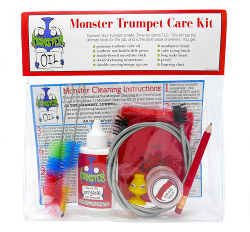 Trumpet care and cleaning kit. Keep your horn clean, healthy, and shiny with the highest quality, best value accessory kit anywhere in the world. Great gift for trumpet players.