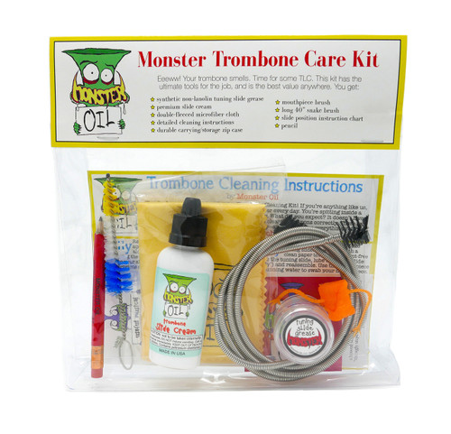 Trombone care and cleaning kit. Keep your horn clean, healthy, and shiny with the highest quality, best value accessory kit anywhere in the world. Great gift for trombone players.