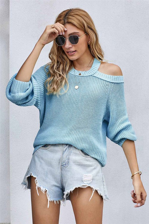 RIBBED SHOULDER CUT OUT SWEATER