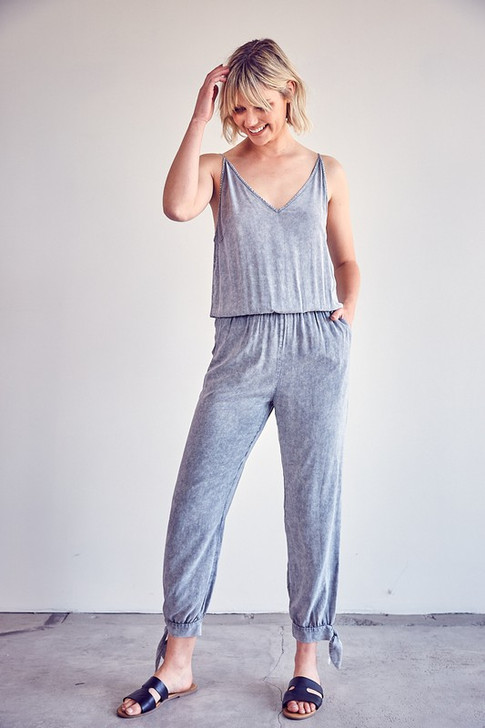 MINERAL WASHED SLEEVELESS JUMPSUIT