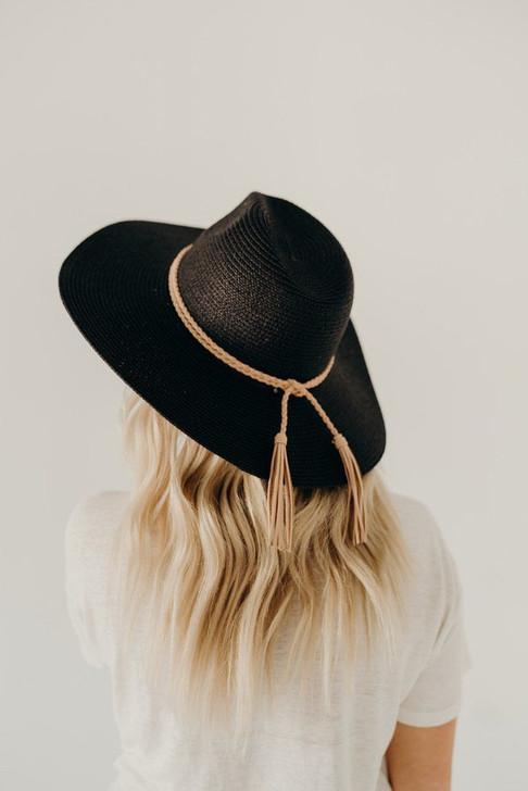 BLACK BRIM HAT WITH TASSEL