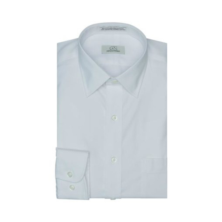 COOPER & STEWART TAILORED FIT DRESS SHIRT - WHITE