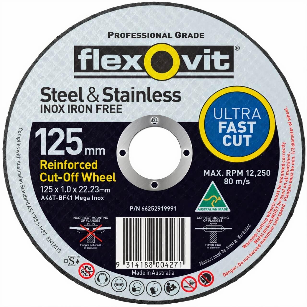 Flexovit A46TBF41 Mega Inox 125x1x22 Cutting Disc