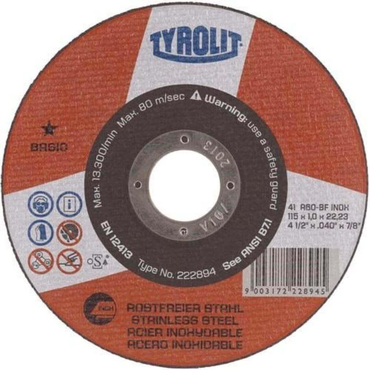 Tyrolit A60R 100x1x16 Inox GP Cutting Disc