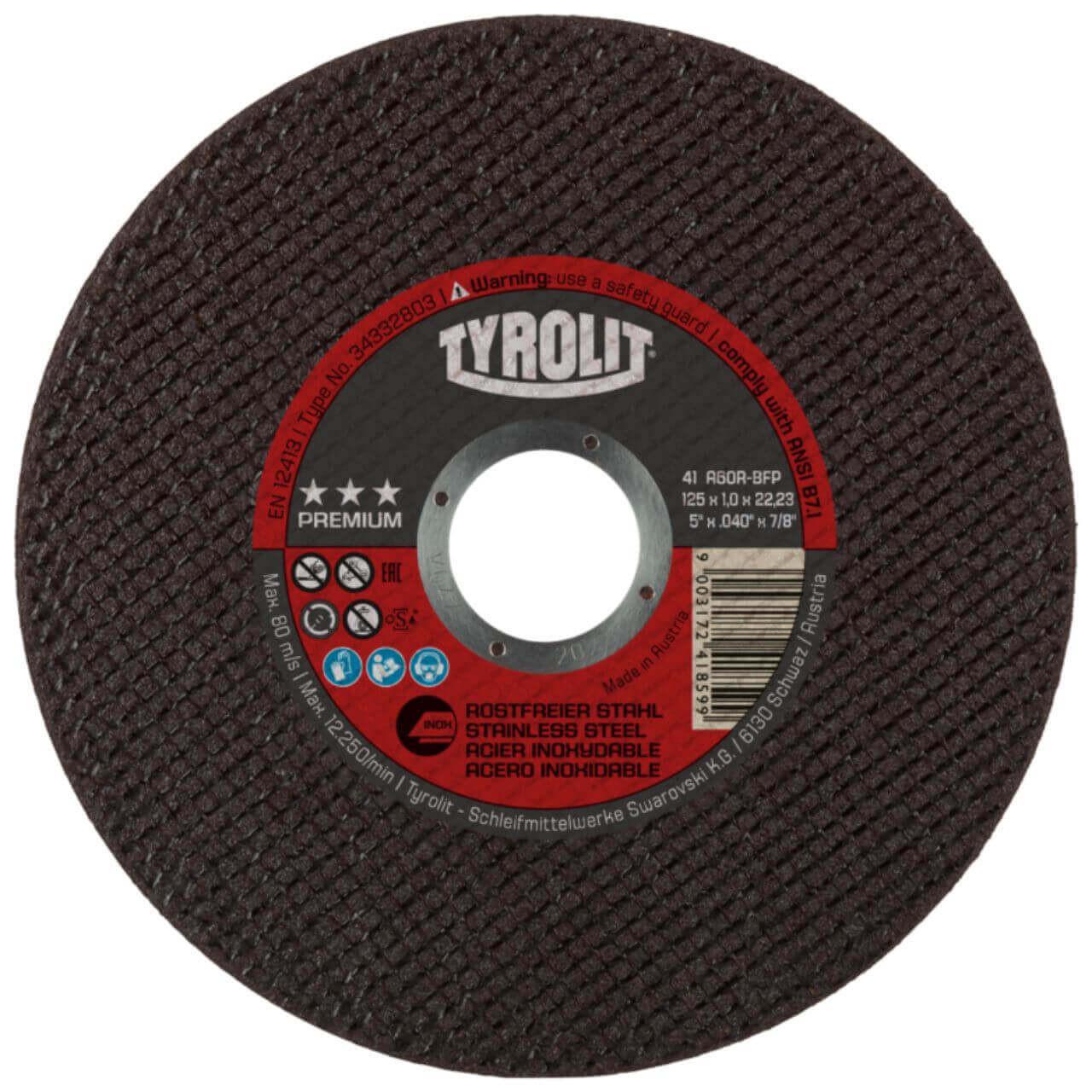 Tyrolit A60R 125x1x22 Inox Premium Cutting Disc