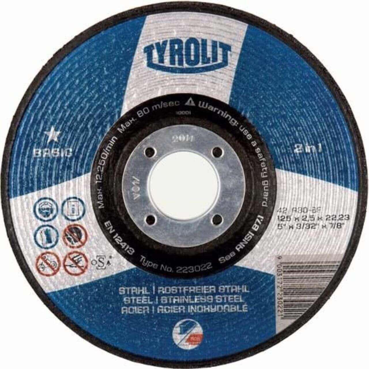 Tyrolit A30Q DC 125x2.5x22 FE/SS GP Cutting Disc