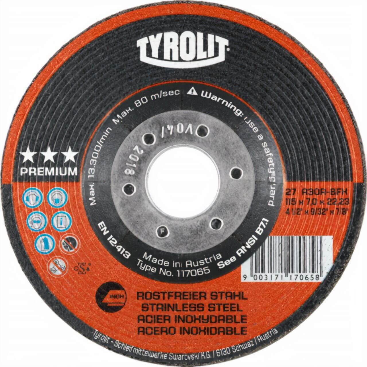 Tyrolit A30R 125x7x22 Inox Premium Grinding Disc