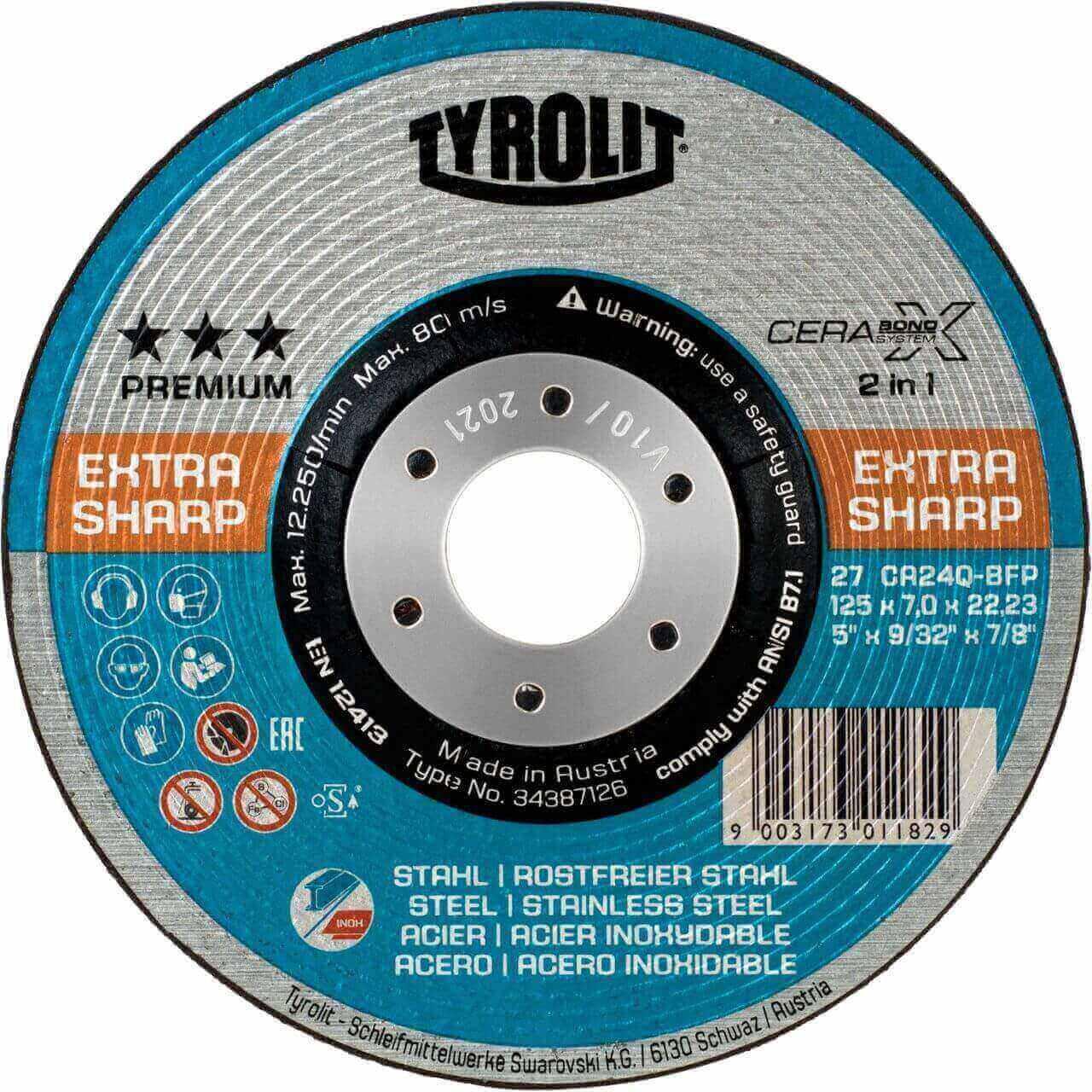 Tyrolit Cerabond X 125x7x22 Premium Grinding Disc