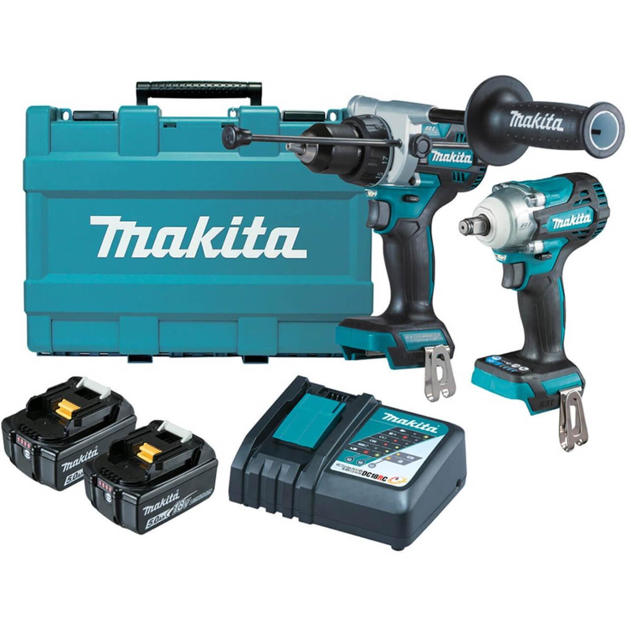 Makita 18V 5.0Ah Li-ion Cordless Brushless 2pce Combo Kit