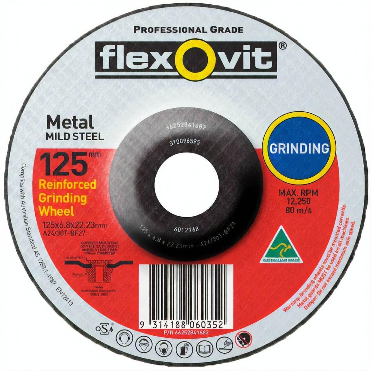 Flexovit A24/30T 125x6.8x22 Grinding Disc