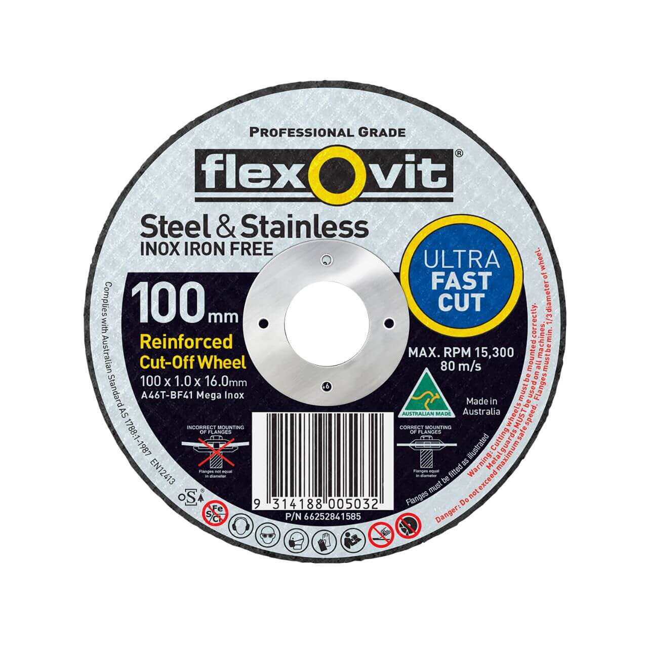 Flexovit A46TBF41 Mega Inox 100x1x16 Cutting Disc