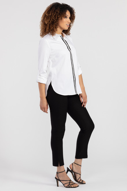 Classic black cigarette pant with seam down front of leg, black slacks, cute work pants for women