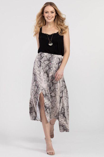Snake print asymmetrical skirt with ruffle hem