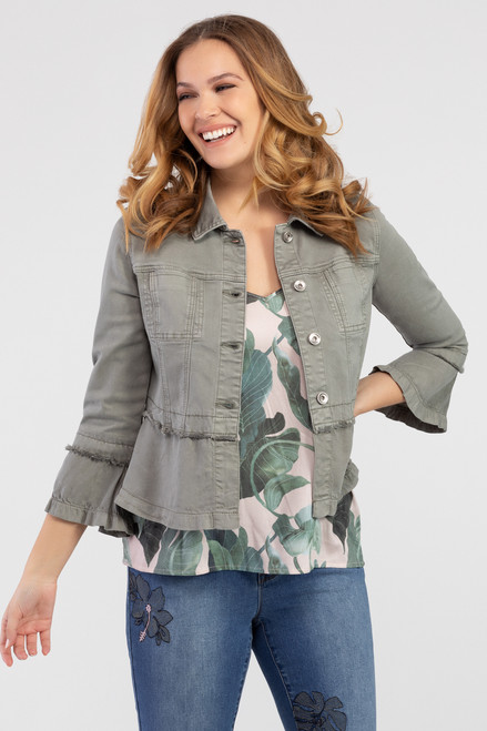 Olive green denim jacket with ruffle hem