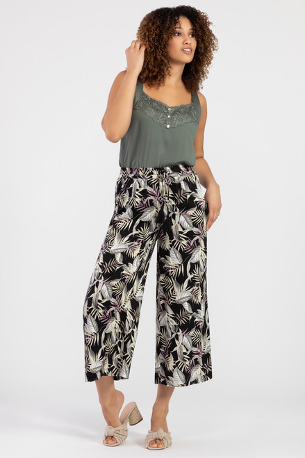 Jungle print black palazzo pant, women's culotte pant