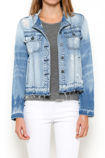 Collarless denim jacket, distressed denim jacket