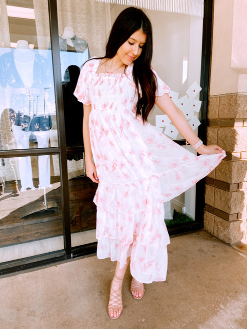 Pink and white floral maxi dress, ruffle maxi dress, cute shower dress