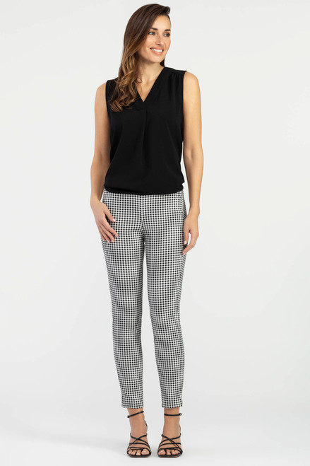 Women's black and white gingham cigarette pant, women's work pant