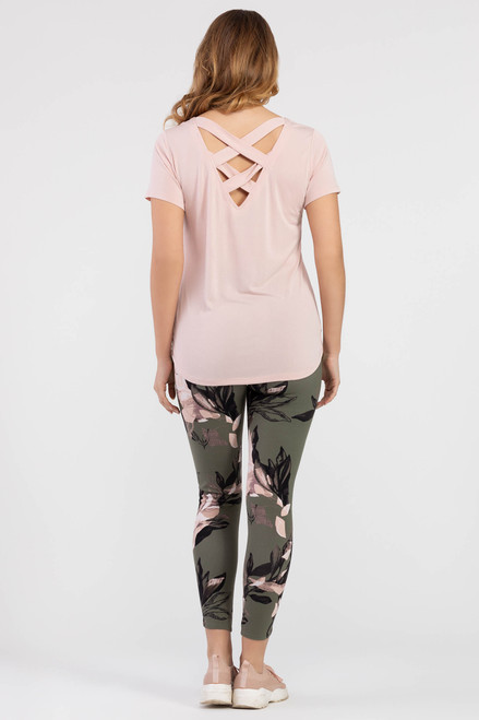 Light pink tee with lace up detail on back