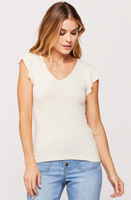 Ivory ribbed sleeveless top with ruffle detail on cap sleeve