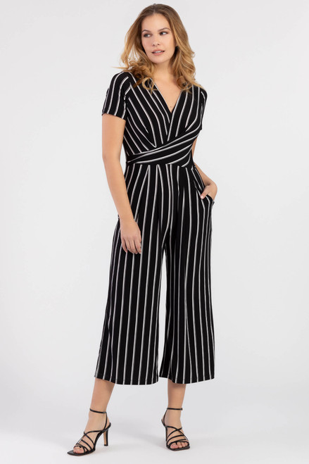 Women's black and white stripe jumpsuit, work appropriate jumpsuit
