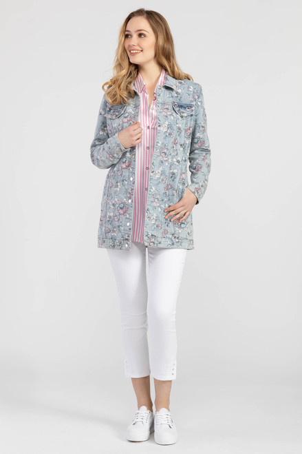 Floral print long denim jacket