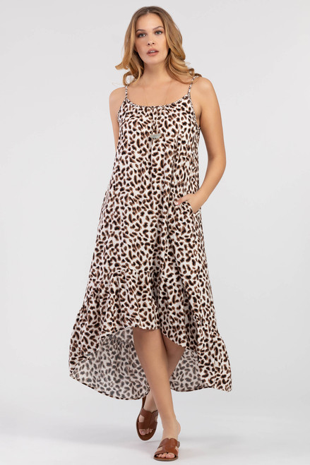 Leopard hi-low maxi dress with ruffle hem