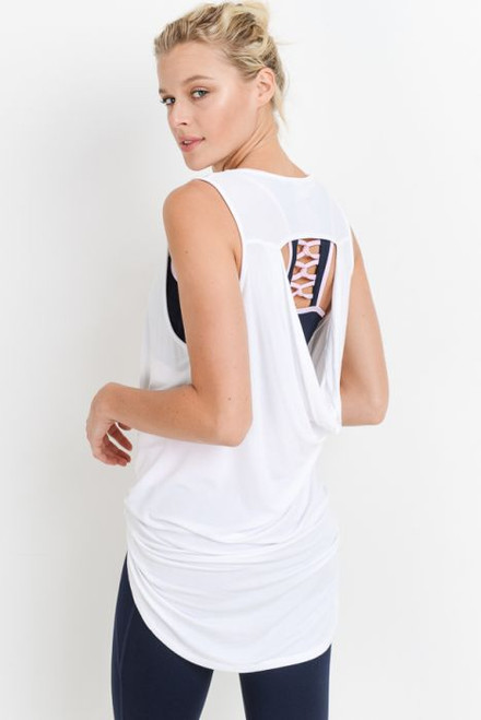 White draped-back long top with open back