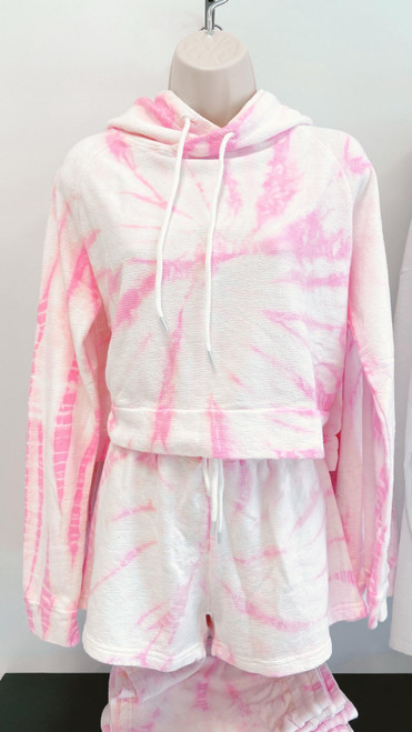 Pink tie-dye matching short and hoodie set