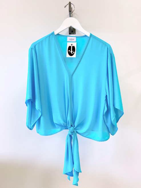 Women's front tie aqua blouse with kimono sleeve