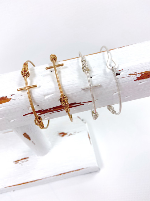 Wire wrapped cross bangle bracelet
