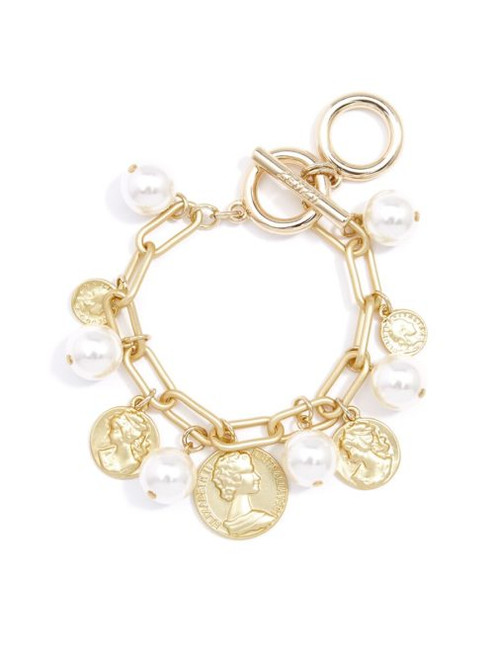 Matte gold chain link bracelet with pearl and coin charms