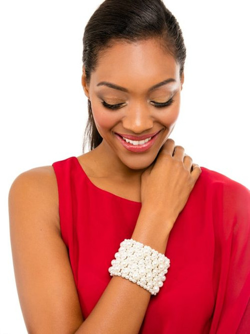 Pearl statement cuff stretch bracelet