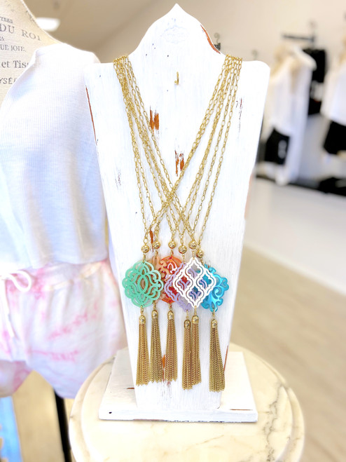 Colorful statement tassel necklace with resin filigree