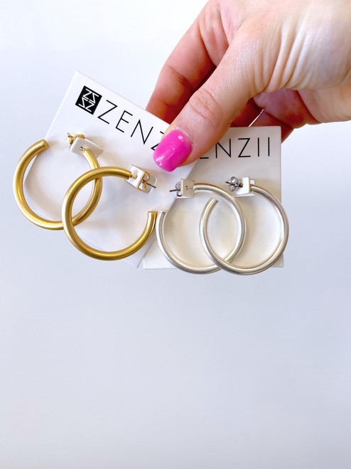 Matte gold or silver rounded hoop earring