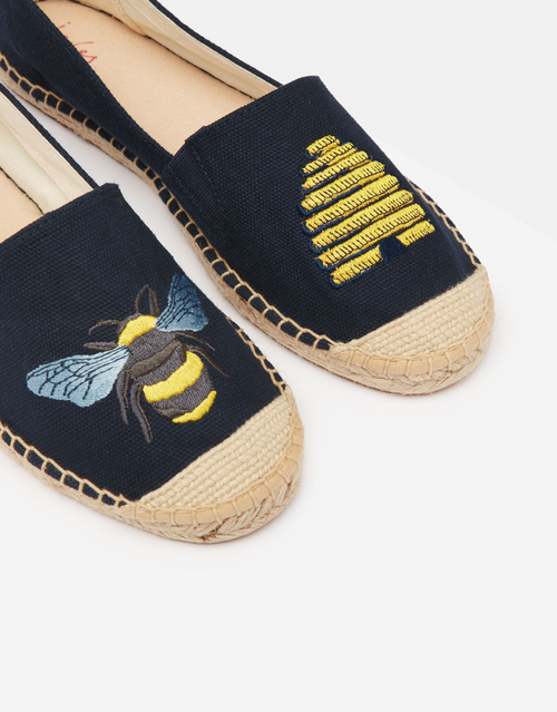 Navy bee hive embroidered espadrille