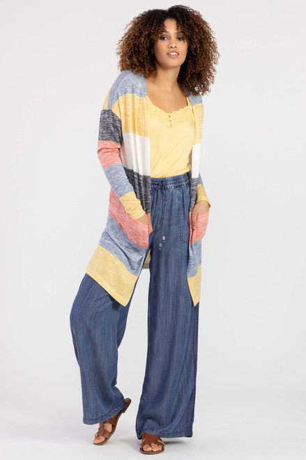 6615O Marigold Striped Cardigan