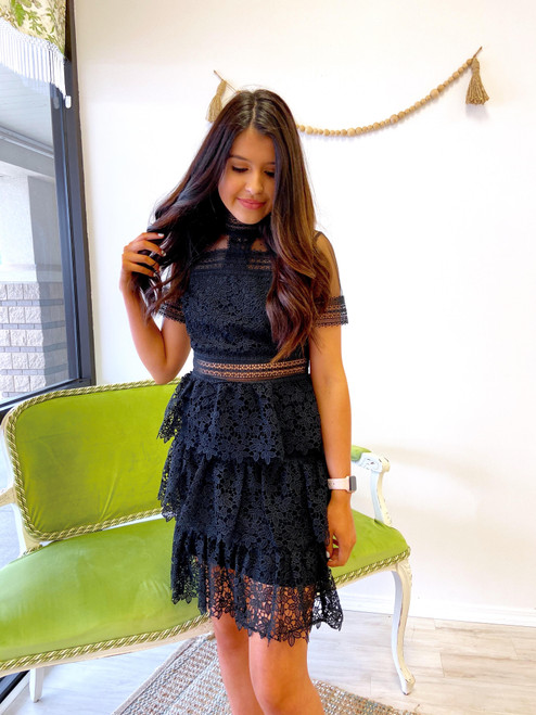 Black lace dress with illusion neckline