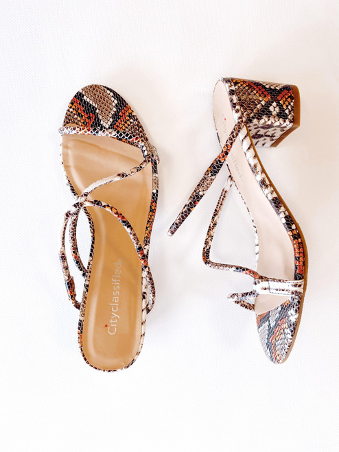 Women's snake print strappy sandal with block heel