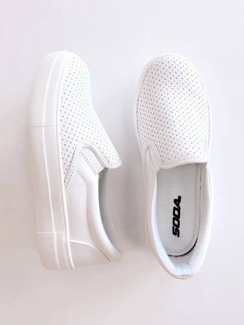 Women's white slip on sneaker