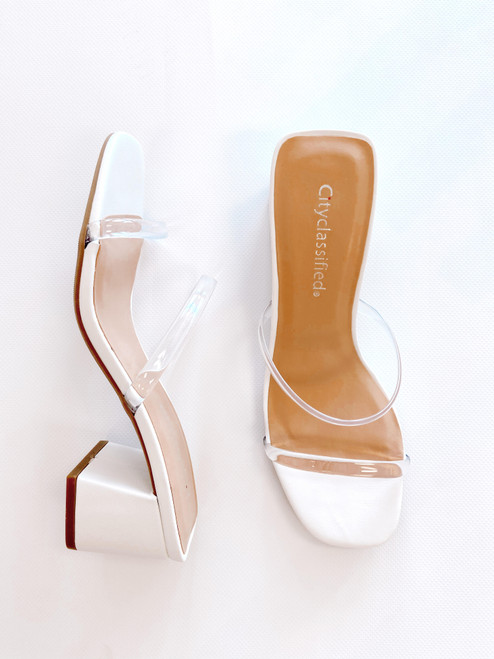 Women's white sandal with clear straps