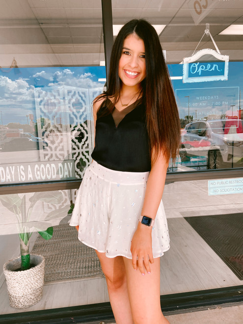 Women's ivory short with silver stars, cute shorts that look like a skirt