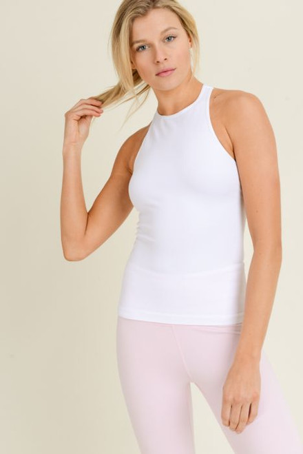 Women's white seamless ribbed tank top