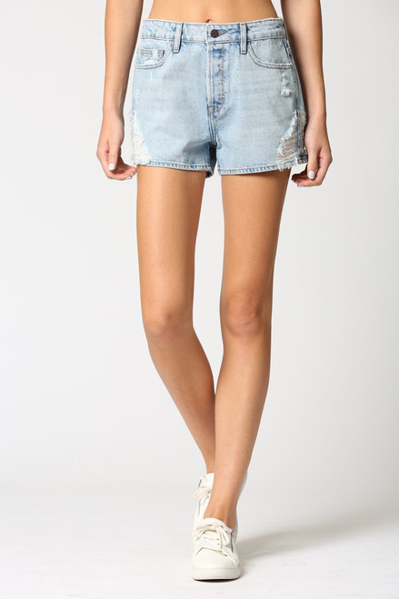 Light wash high rise denim short, cute mom jean shorts