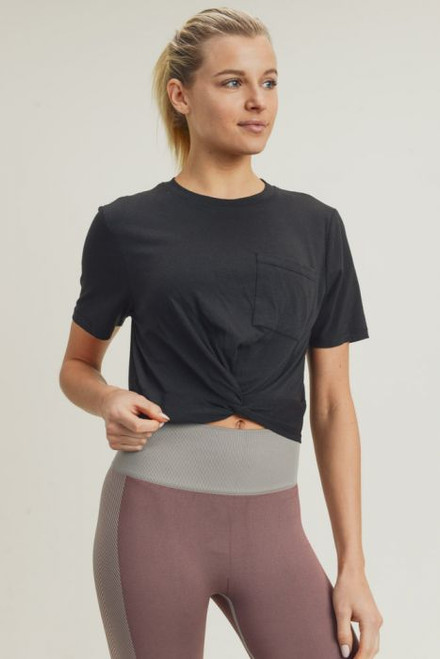 Black twisted front crop top, black athleisure top