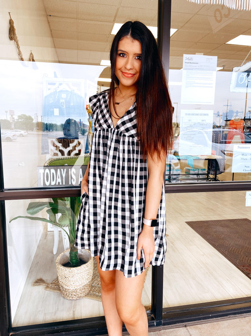 Women's black and white gingham romper that looks like a dress