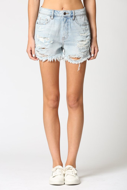 Women's light wash distressed high rise denim short