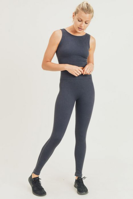 Women's ribbed mineral wash seamless highwaist legging